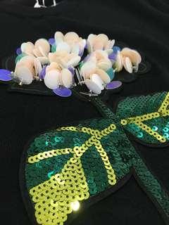 3D Flower Knitted Black Tops