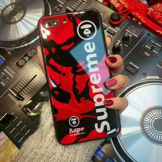 Supreme Bathing Ape Tempered Glass Case iPhone X-Red Army