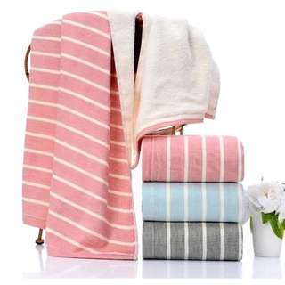 🚚 (Set of 3)  REGATTA Gauze Cotton Stripe Bath Towels