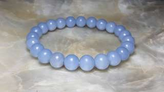 8mm Angelite Anhydrite Bracelet From Peru