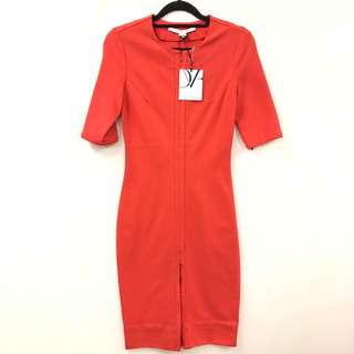 斯文裙 New DVF orange red dress size 0