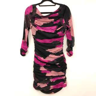 斯文裙 DVF black and purple dress size 2