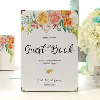 Custom Wedding Guestbook - Romance in Blooms