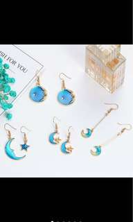 korean style earrings moon and stars earrings galaxy earrings