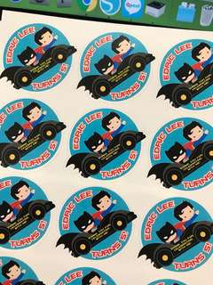 Batman superman birthday party sticker labels customised