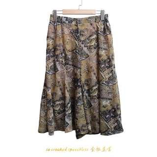 🚚 嬉皮靈修系褲裙/古著/紗質/不規則墨黃綠色