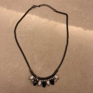 包郵 日本 黑白 仿鑽 槍黑 頸鍊 necklace black and white japan