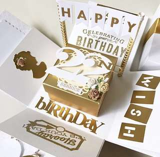 🚚 Happy 22nd Birthday Explosion Box Card in white and gold