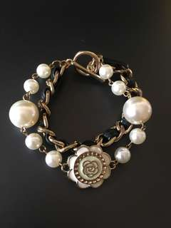 White Pearls with Black Leather Chain Bracelet
