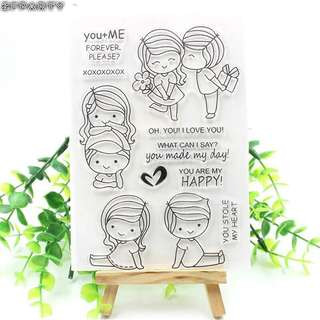 🚚 🌸 [SALE] Cute couple clear stamp set