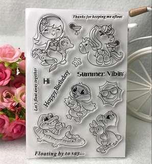 🚚 🌸 [SALE] Mermaid Unicorn ducky Furmingo and Crocodile Clear Stamp #caroupay