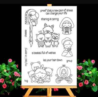 🚚 🌸 [SALE] Childhood Cartoon Princess Cinderella Rapunzel 3 piglets and wolf red riding hood clear stamp #Caroupay