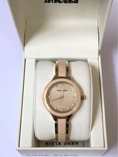NEW! ANNE KLEIN GOLD-TONE & LIGHT PINK BANGLE, MOTHER-OF-PEARL DIAL W/ SWAROVSKI WATCH AUTHENTIC
