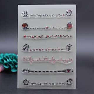 🚚 🌸 Cute Korean Edge Line Decoration Clear Stamp #Caroupay
