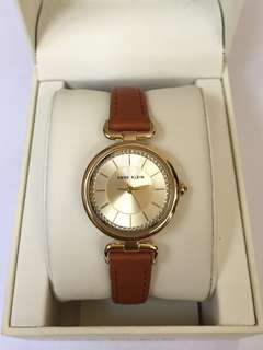 NEW! ANNE KLEIN GOLD-TONE WITH SWAROVSKI CRYSTALS, LEATHER STRAP WATCH AUTHENTIC