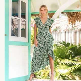 [PO] Tropical Wrap Ruffle Dress