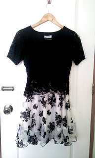 Black Lace Dress with sleeves. When worn is posted. My measurements are bust 34 waist 27