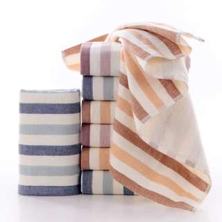🚚 (Set of 3)  RIVIERA Gauze Cotton Stripe Bath Towels