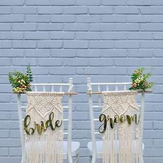 Chair signs - Bride & Groom