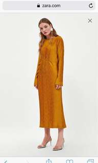 Zara Pleated Textured Dress