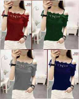 Sexy Off Shoulder Top Lace Clothing RTW Sleeve Strap Blouse For Women