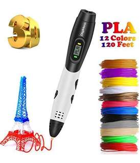 1096. 3D Pen with LCD Screen, DigiHero 3D Printing Pen with 1.75mm PLA Filament Pack of 12 Different Colors, Each Color 10 Feet, 3D Print Pen is Perfect Gift for Kids, Adults
