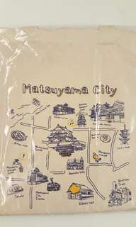 日本 松山城 手繪插畫 帆布包 帆布袋