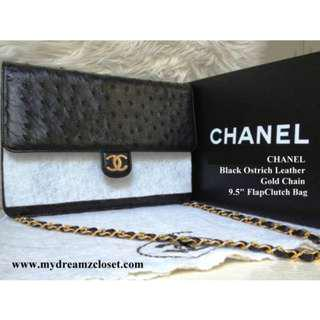 RARE NEW 100% Auth CHANEL Black Ostrich Leather Gold Chain 9.5 Flap Bag