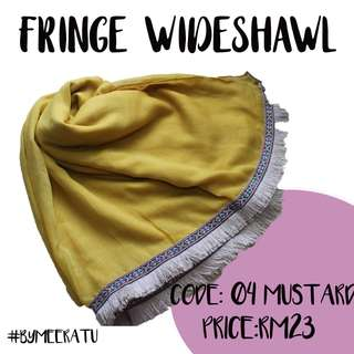 FRINGE COTTON WIDESHAWL (MUSTARD)