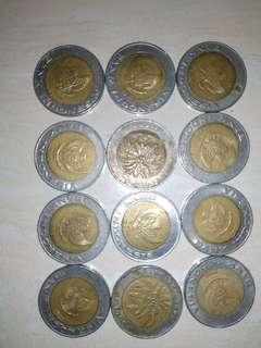 Koin Rp. 1000 kelapa sawit (12 koin) tahun 1994, 1995, 1996, 2000