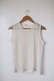 White sheer top w details