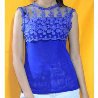 Royal Blue Lace Sleeveless See Through Top