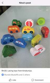 Lacing wooden toys