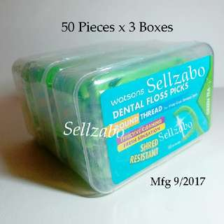 3 Box (150 Pcs) : Green Tea Fresh Dental Teeth Floss Thread Watsons Picks Sellzabo Colour Oral Tooth Care