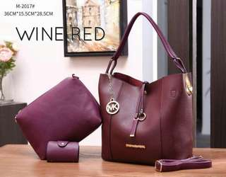 Michael Kors Tote Bag 3 in 1 Wine Red Color