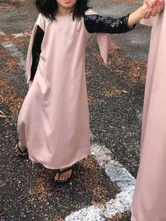 Girl Jubah Sequin Black Cream