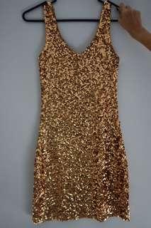 Gold sequin glittery dress