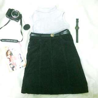 H&M Black Suede Skirt