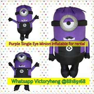 Purple Single Eye Minion Inflatable costume for rental