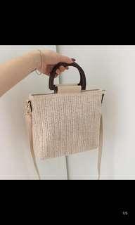 🚚 編織 木把 側背包
