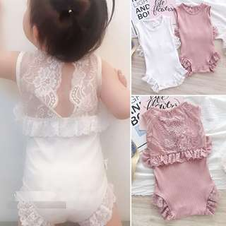 BMT382 - Girl Sexy Lacy Back Romper *Cotton, Lace*