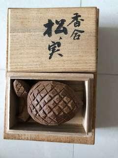 日本回流木雕香盒