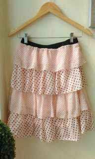 Pink Ruffled Polka Skirt