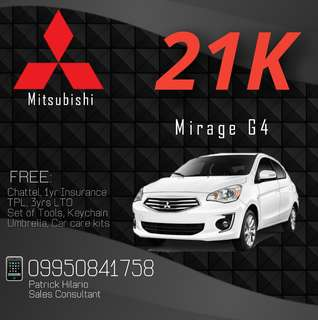 Mitsubishi Mirage Low Down Promo