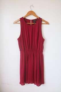 F21 maroon polka dot dress