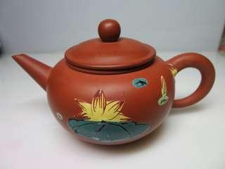 🚚 [老茗器]紫砂壺~紅土 雙面彩繪 標準壺 有落款 240CC