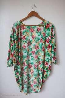 Tropical kimono cover up