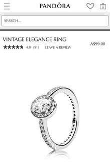 Pandora Vintage Elegance Rings Size 48