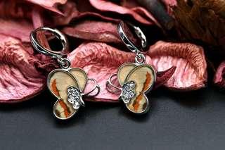 Navia Jewelry - Real Butterfly Wing Delias anjae Silver Earrings Korea