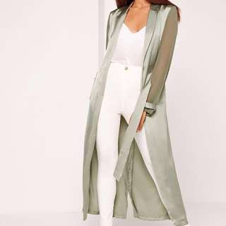 Two Tone Satin Chiffon Belted Duster Coat Green
